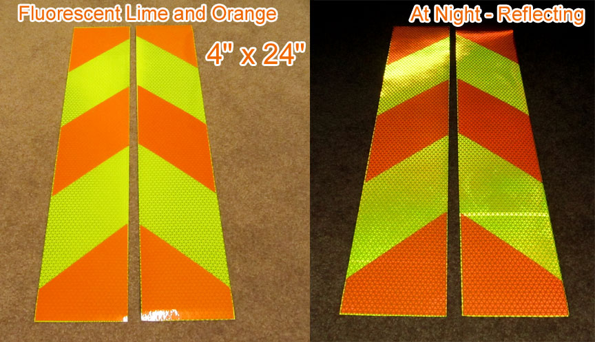 orange fluorescent lime reflective panel