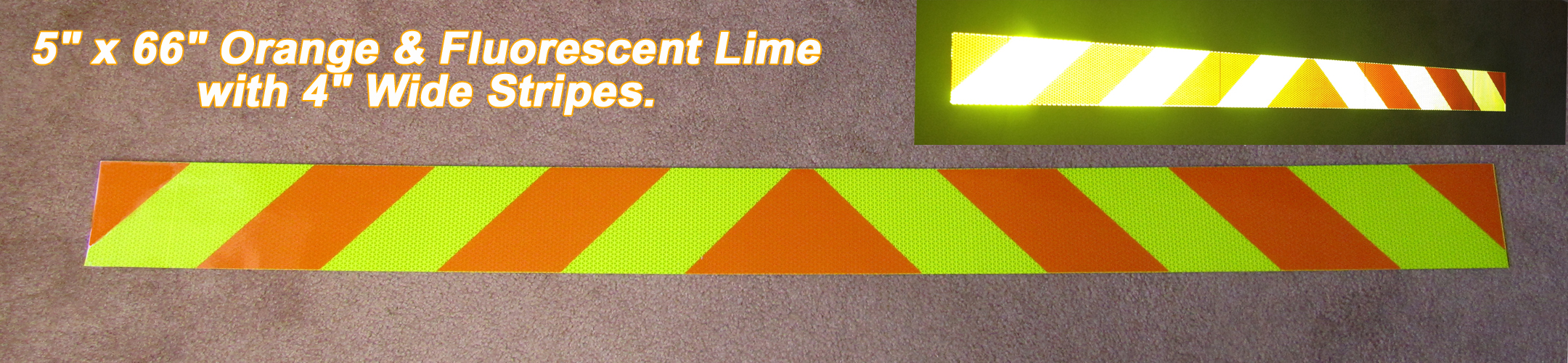 "5"" x 66"" orange lime reflective panel"