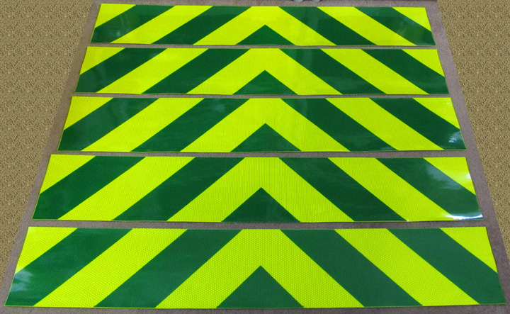Lime yellow and green chevron panel stripes