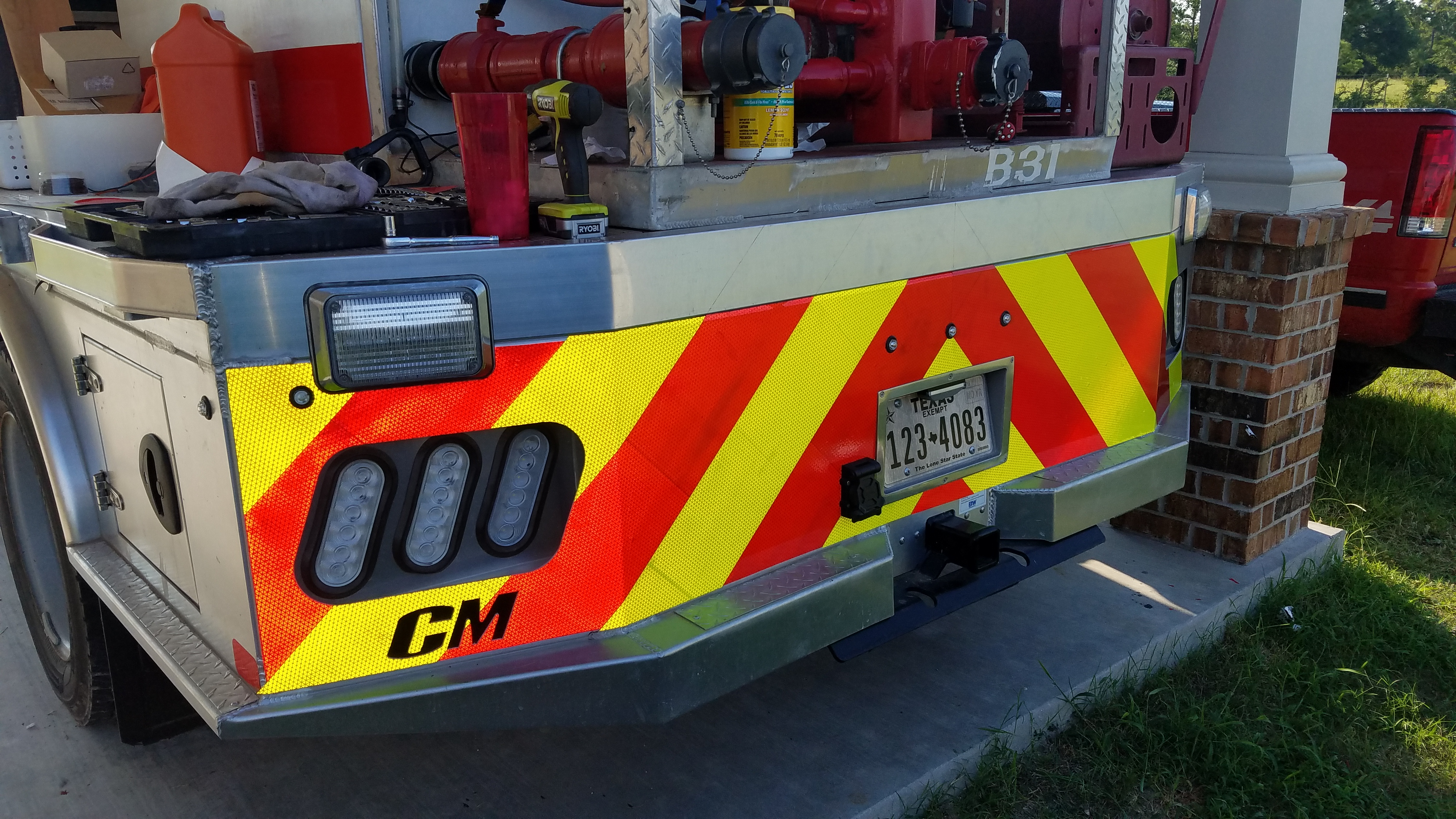 rear fire truck chevron lime red reflective