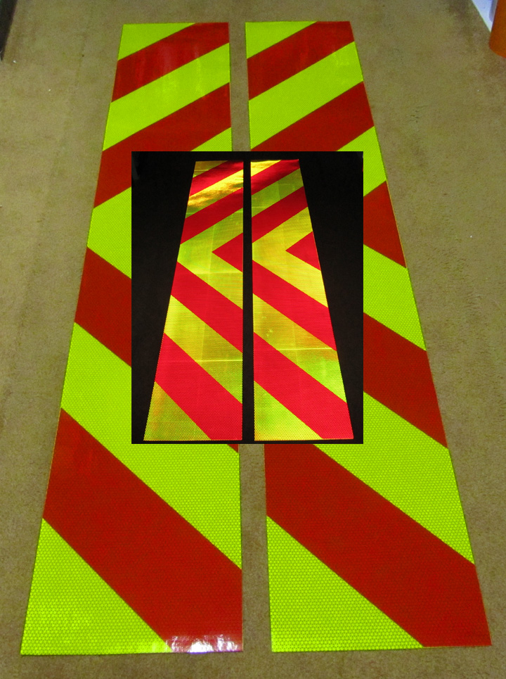 chevron panel red lime reflective