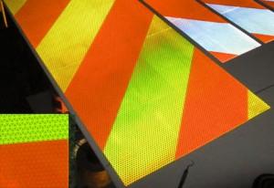 orange white lime reflective panels