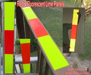 red fluorescent lime panels