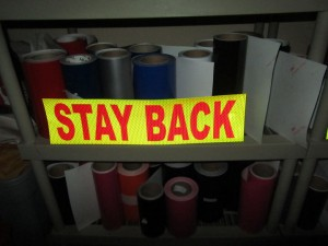 stay back 200 feet reflective decal