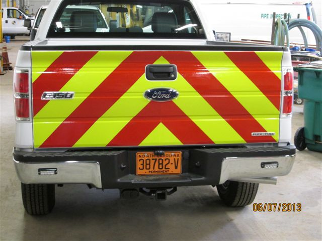 "chevron striping 6"" red lime tailgate"