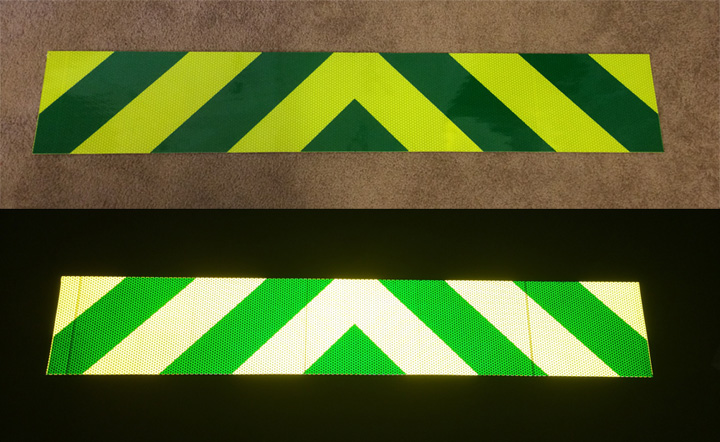 green and lime chevron panel