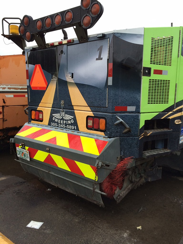 chevron reflective panel for street sweeper