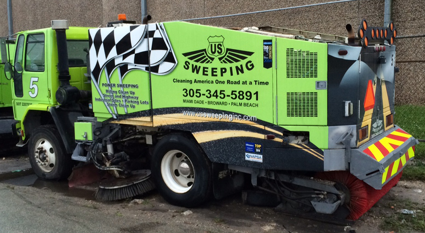 reflective chevron panel street sweeper