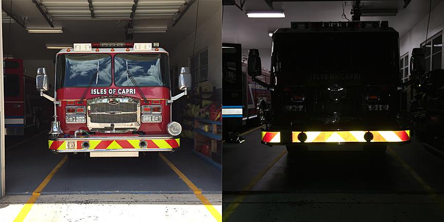 firetruck bumper chevron reflective decal panel