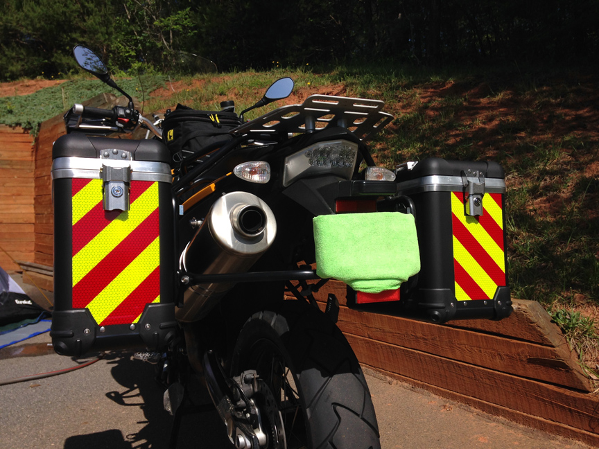 motorcycle motorbike pannier reflective panels