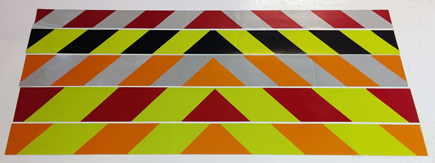 reflective orange lime red black green panels