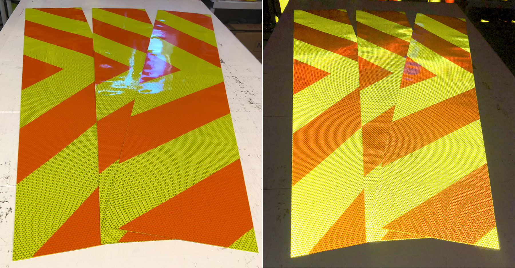 Orange and Fluorescent Lime Reflective Chevron Panel